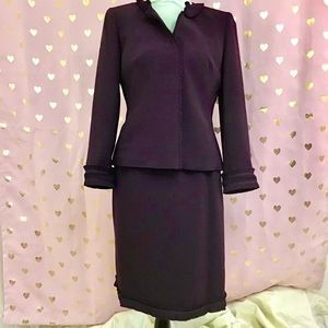 Albert Nipon deep plum suit with ruffles